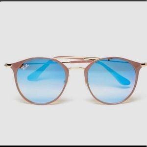 RAY BAN Aviators- Blue Lens/ Nude Frames